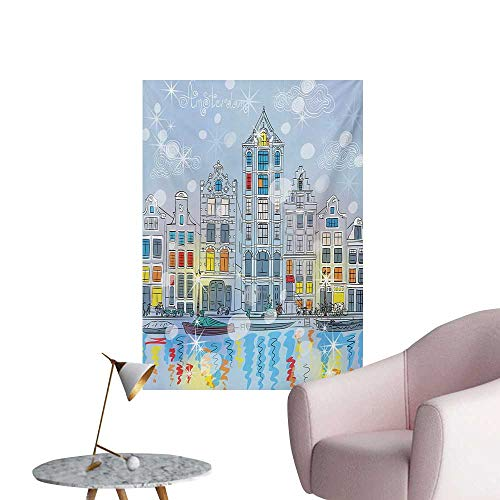 Anzhutwelve Christmas Photographic Wallpaper Noel Time at Amsterdam Canal with Historical Famous Buildings North Europe DesignMulticolor W24 xL32 Poster Paper