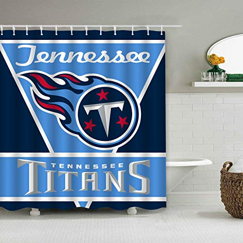 Sorcerer Custom Colourful Tennessee Titans American Tootball Team Shower Curtain Polyester Waterproof Proof for Bathroom Decoration Set with Hooks 66x72 Inches