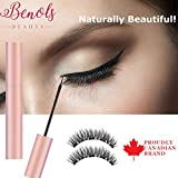 Benols Beauty Magnetic Eyeliner Set with 3D Natural Look Magnetic Eyelashes + Tweezers and Makeup Mirror – Smudge Free Black Waterproof Magnetic Liquid Lashliner Kit for Use with Magnetic False Lashes