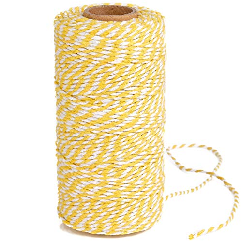 (Eison Holiday Twine Wedding Twine Cotton Bakery String Yellow and White Twine Rope Cord for Wedding and Holiday Gift Wrapping, Arts Crafts 328 Feet)