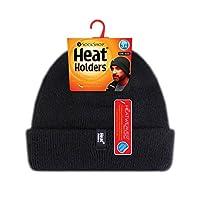 Soportes térmicos - Vellón térmico para hombres, forrado, sobre el puño, gorro de invierno - Negro