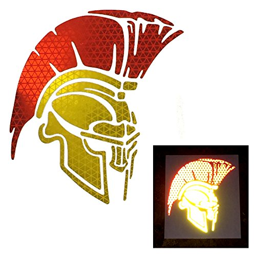 customTAYLOR33 High Intensity Grade Reflective Spartan Trojan Decal (6 Inches x 5.3 Inches, YELLOW/GOLD Face Mask with RED Mohawk) ()