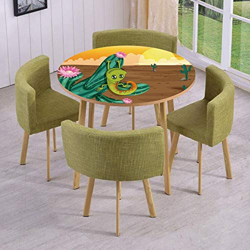 (iPrint Round Table/Wall/Floor Decal Strikers/Removable/Cartoon Style Desert Setting Sun Chameleon on Cactus Arid Country Barren Heath Decorative/for Living Room/Kitchens/Office Decoration)