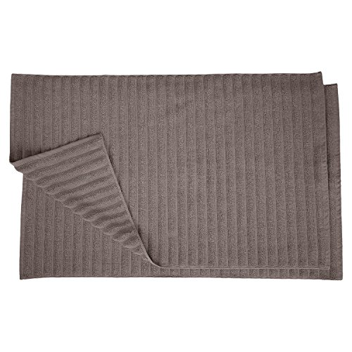 Superior Striped Bath Mat 2Pack 100% Combed Cotton Luxury Spa Ribbed Texture Durable and Washable Bathroom Mats  Graphite 22quot x 35quot each