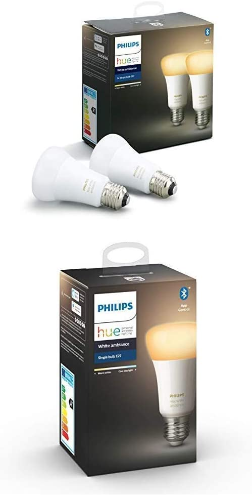Philips Hue White Ambiance - Pack de 3 bombillas LED E27, 9.5 W, iluminación inteligente, tonos de luz blanca cálida (compatible con Bluetooth, Amazon Alexa, Apple HomeKit y Google Assistant)