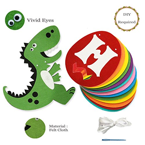 Dinosaur Happy Birthday Banner, Colorful Felt Garland Flag for Dino Jungle Jurassic First Birthday Dinosaur Party Supplies Decorations by Haptda (Image #5)