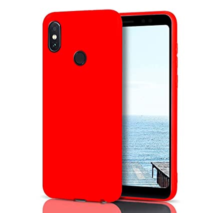 MoEvn Funda Xiaomi Redmi Note 5 Silicona, Rojo Redmi Note 5 Carcasa Mate Case Cover TPU Suave Slim Anti Skid Anti Rasguño Candy Color Gel Funda para ...