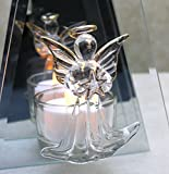 Infinity Glass Tea Light Candle Holder - Crystal Angel Holding a Star with Gold Trim Accents Christmas Easter Valentines Birthday Sympathy