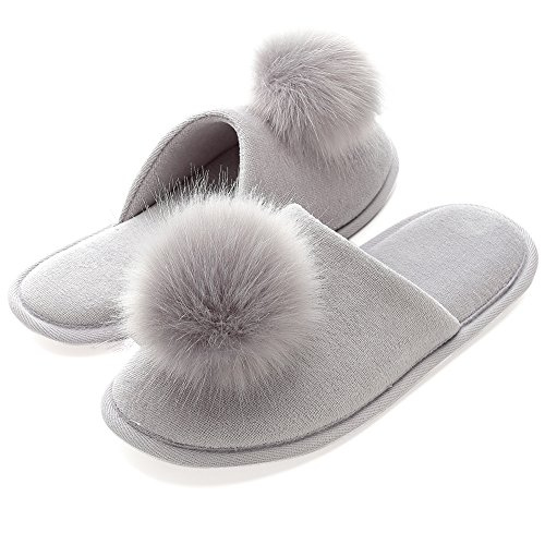 INFLATION Women's Plush Pom-pom Fuzzy Slippers Fluffy Slippers Slip on Indoor Outdoor Slippers for Women