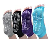 Cosfash Non Slip Skid Yoga Pilates Barre Socks with Grips for Women and Men 4 Pairs