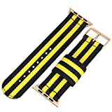 Top Grade Superior Nato style Ballistic Nylon Watch Band Strap Replacement for iWatch Black/Yellow 42mm