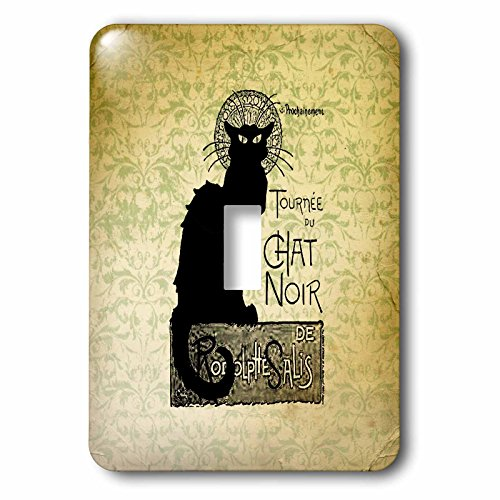 Le Chat Switchplate - 3dRose lsp_99373_1 Vintage Chat Noir Black Cat French Art Animals Single Toggle Switch