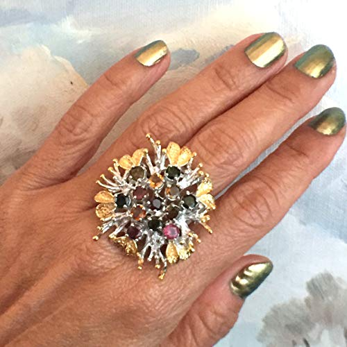 (Sz 7.5, Natural SONGEA SAPPHIRE Gemstones, 14k White and Yellow GOLD Vermeil and 925 Sterling Silver, Ameogem Design Stunning Flower (32mm) Ring Fine Jewelry.)