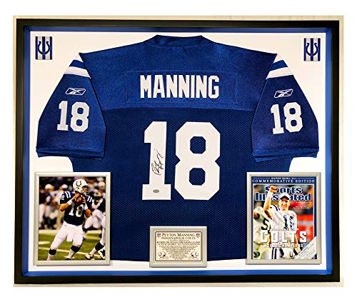 Premium Framed Peyton Manning Autographed/Signed Indianapolis Colts Official Reebok Jersey - Mounted Memories COA (Signed Peyton Manning Jersey)