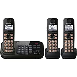 Panasonic KX-TG4743B DECT 6.0 Cordless Phone with Answering System, Black, 3 Handsets (Discontinued By Manufacturer)