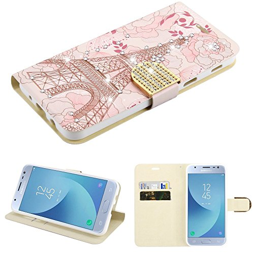 Faceplate Cover Candy - Case+Stylus, PU Leather Wallet/Clutch/Purse Fits Samsung Galaxy J3 V/J3 3rd Gen/J3 Star/ J3 Achieve/Express Prime 3/J337/J3 2018 Stunt MYBAT Eiffel Tower Diamante MyJacket with Diamante Belt