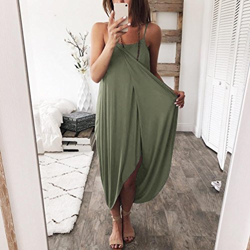Dress Belts Overdose verde Women Beach Solido Casual Summer O Dress collo Loose Bohemian Casual Casual Party q5fBA5r