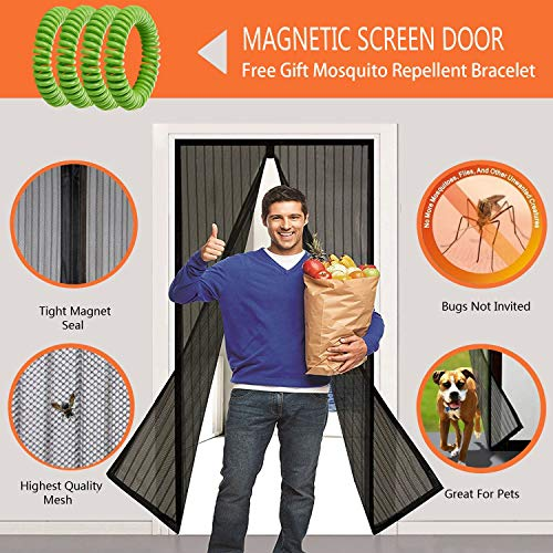 Magnetic Fly Insect Screen Door Mesh Curtain Bug Mosquito Guard Full Frame UK