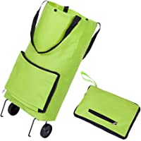 Dewsshine Collapsible Trolley Bags Folding Shopping Cart Reusable Grocery Bags with Wheels for Women Kids (Green)