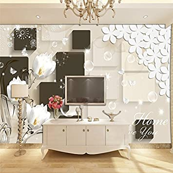 Amazon Com 400cmx280cm Custom 3d Wallpaper 3d Stereo Simple Tulip Wallpaper Tv Background Living Room Bedroom Wall Decoration 400cmx280cm Home Improvement