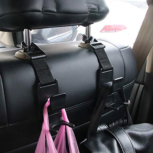 Gcoa 4 Pack Magic Car Kopfstütze Haken Geldbörse Kleiderbügel Kopfstütze Haken Halter Für Autositz Organizer Hinter Dem Rücksitz Autohaken Hang Geldbörse Oder Einkaufstüten Schwarz Baby