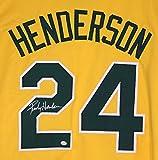 Rickey Henderson Oakland Athletics Signed Autographed Yellow #24 Custom Jersey PAAS COA