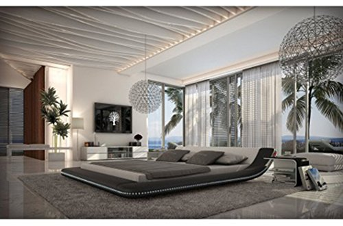 Modern Black Platform Bed With Led Lighting
