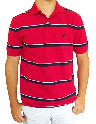 Nautica Men's Pique Alternating Stripe Polo Shirt (Large, Nautical Red)