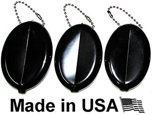 Oval Rubber Coin Purse Change Holder With Chain By Nabob ( 3 Pack )