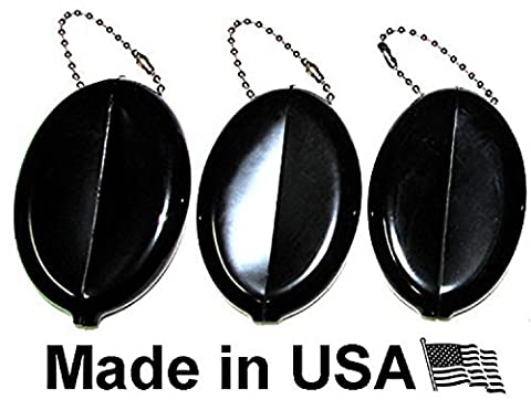 Oval Coin Purse Change Holder With Chain By Nabob Made IN U.S.A. ( 3 Value Pack, Black )