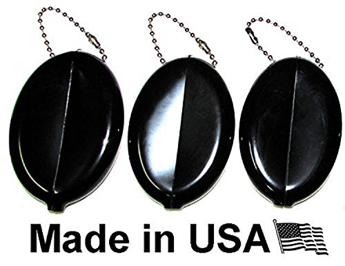 Oval Coin Purse Change Holder With Chain By Nabob Made IN U.S.A. ( 3 Value Pack, Black - In Gucci Usa Stores