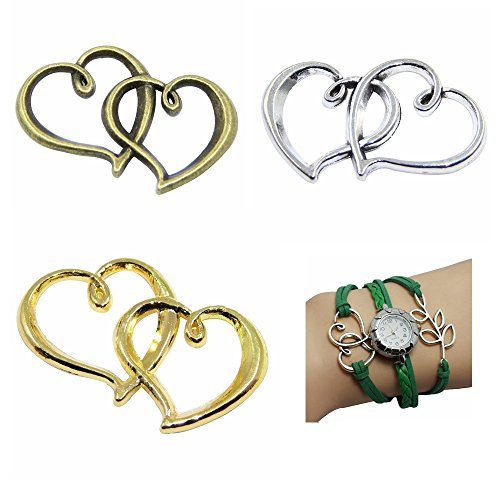 Double Heart Charm Jewelry (15pcs Mixed Double Heart Friendship Jewelry Making Charms DIY Love Supplies wholesale)