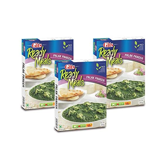 Gits Ready to Eat Palak Paneer, 285g (Pack of 3)