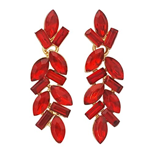 Red And Gold Tone Earrings - 6