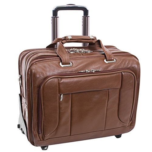 """McKlein, S Series, WEST Town, Pebble Grain Calfskin Leather, 15"""" Leather Fly-Through Checkpoint-Friendly Patented Detachable -Wheeled Laptop Briefcase, Brown (15704)"""