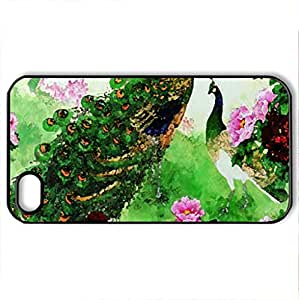 charming love birds - Case Cover for iPhone 4 and 4s (Birds Series, Watercolor style, Black)
