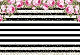 MEHOFOTO Photo Studio Background Black and White Stripe Pink Rose Flower Birthday Backdrops for Photography 8ftx6ft