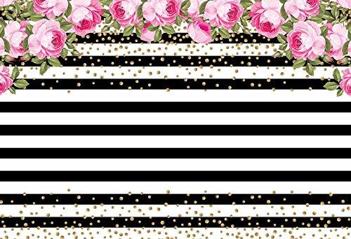 MEHOFOTO Photo Studio Background Black and White Stripe Pink Rose Flower Birthday Backdrops for Photography 7ftx5ft - Birthday Stripes