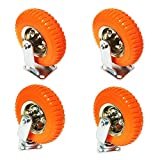 Caster Wheels Complete Set of 4 Heavy Duty Industrial Universal Mount, 8 inch, 220-lb Load Capacity, Orange
