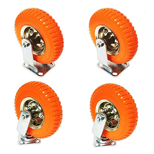 Caster Wheels Complete Set of 4 Heavy Duty Industrial Universal Mount, 8 inch, 220-lb Load Capacity, Orange by Voyager Tools