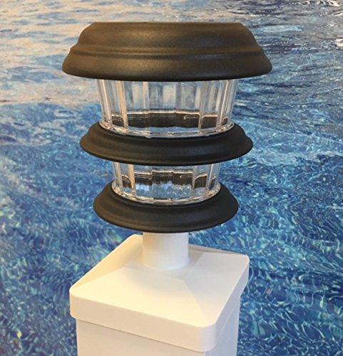 2000BWC 4 Resin Pool Deck Post Solar Lights 4 Lights per Pack by Solar above ground pool fence light