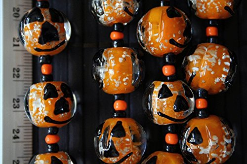 Halloween Theme Jack O' Lantern Face Glow In Dark Orange Glass Beads(Pack of 12