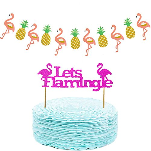 Hawaiian-Luau-Party-Supplies-and-Party-Decorations-Flamingo-Pineapple-Party-Banner-and-Cake-Topper-Decorations