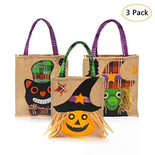 Aitey Halloween Tote Bags, 3 Pack Linen Trick or Treat Bags for Kids, Candy Bags Children Gift Halloween Party Supplies Decorations 3 Cute Prints - Pumpkin Witch and Ghost -