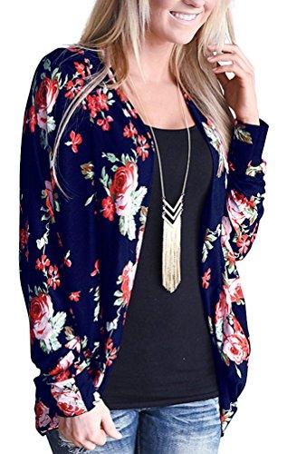 (EachEver Women Casual Long Sleeve Floral Printed Open Front Cardigan Outwear Dark Blue)