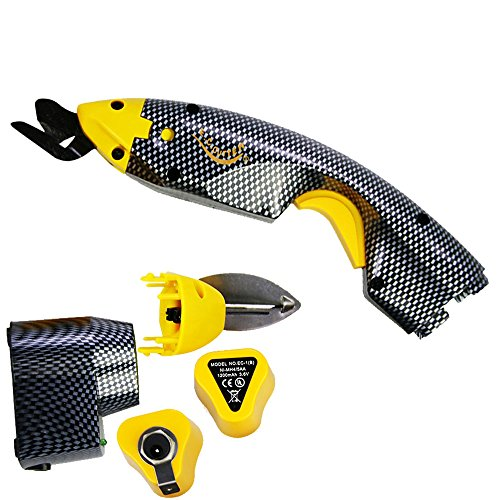 Loboo Idea Electric Power Scissors, Multi-Cutter Electric Shears, Works for Fabric, Cardboard, Leather, etc. Up to 50 Minutes Continuous Cutting Power per Charge (Yellow) ()