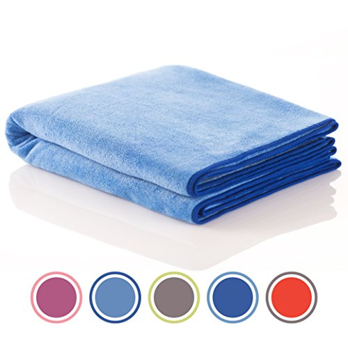Super Microfiber Sports and Non Slip Hot Yoga Mat Towel - Quick Dry, Soft and Absorbent Gym Towel - 2 Camping, Fitness, Workout, Pilates, Travel or Beach (light blue, 24