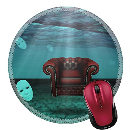 Price comparison product image Liili Round Mouse Pad Natural Rubber Mousepad IMAGE ID 33698797 White Mask and armchair floats in underwater desert