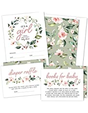 Set of 25 Floral Wreath Baby Shower Invitations, Diaper Raffle Tickets and Baby Shower Book Request Cards with Envelopes   It's a Girl Blush Pink Boho Fill-in Invites for Baby Shower (25)