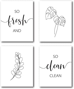 XUWELL Modern Bathroom Quotes So Fresh and So Clean Clean Minimalist Leaves Line Wall Art Poster Prints, Boho Plant Bathroom Wall Art Decor, 8 x 10 Inch Set of 4 Prints, Unframed